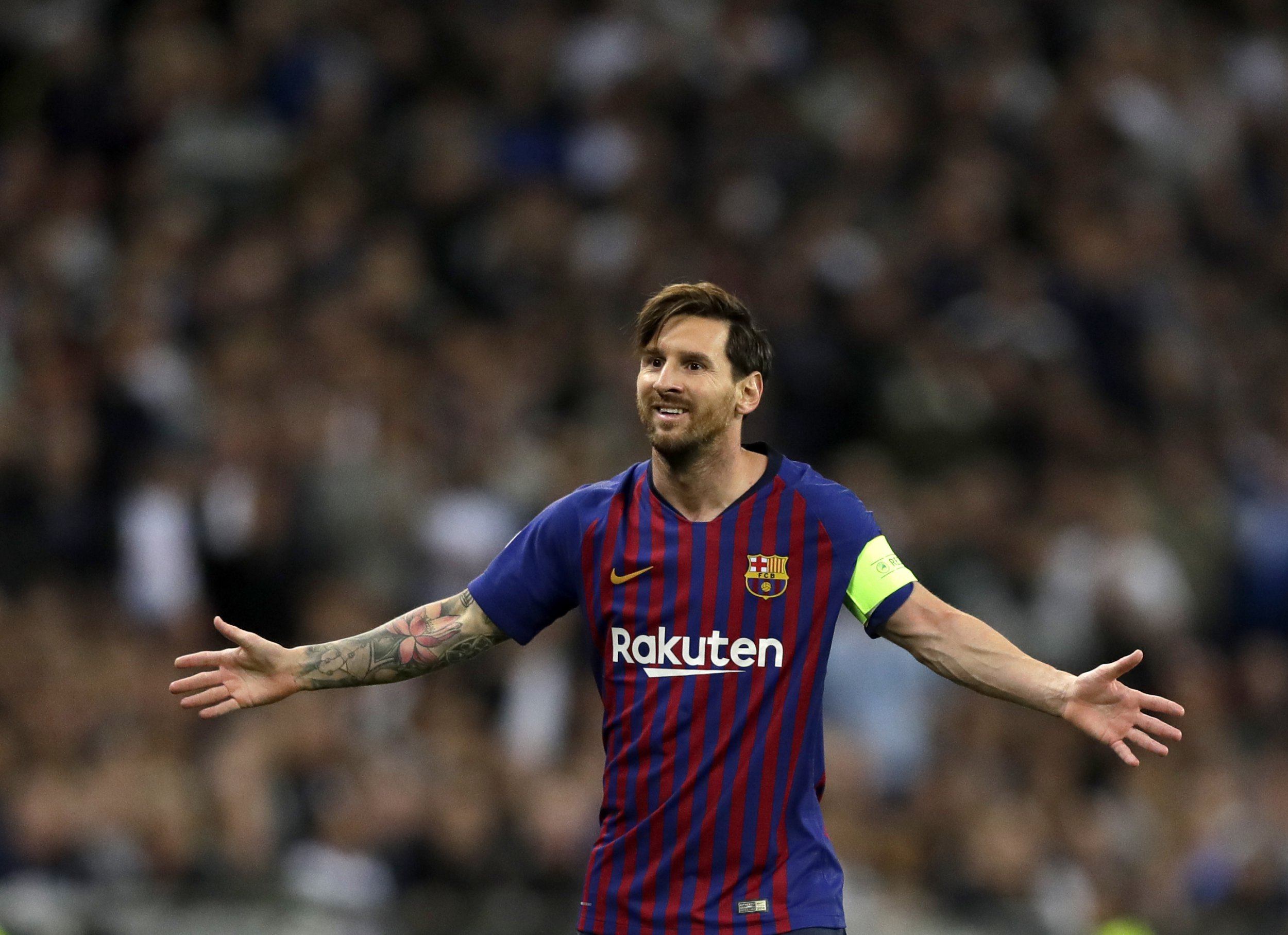 Barcelona forward Lionel Messi reacts during the Champions League Group B soccer match between Tottenham Hotspur and Barcelona at Wembley Stadium in London, Wednesday, Oct. 3, 2018. (AP Photo/Kirsty Wigglesworth)