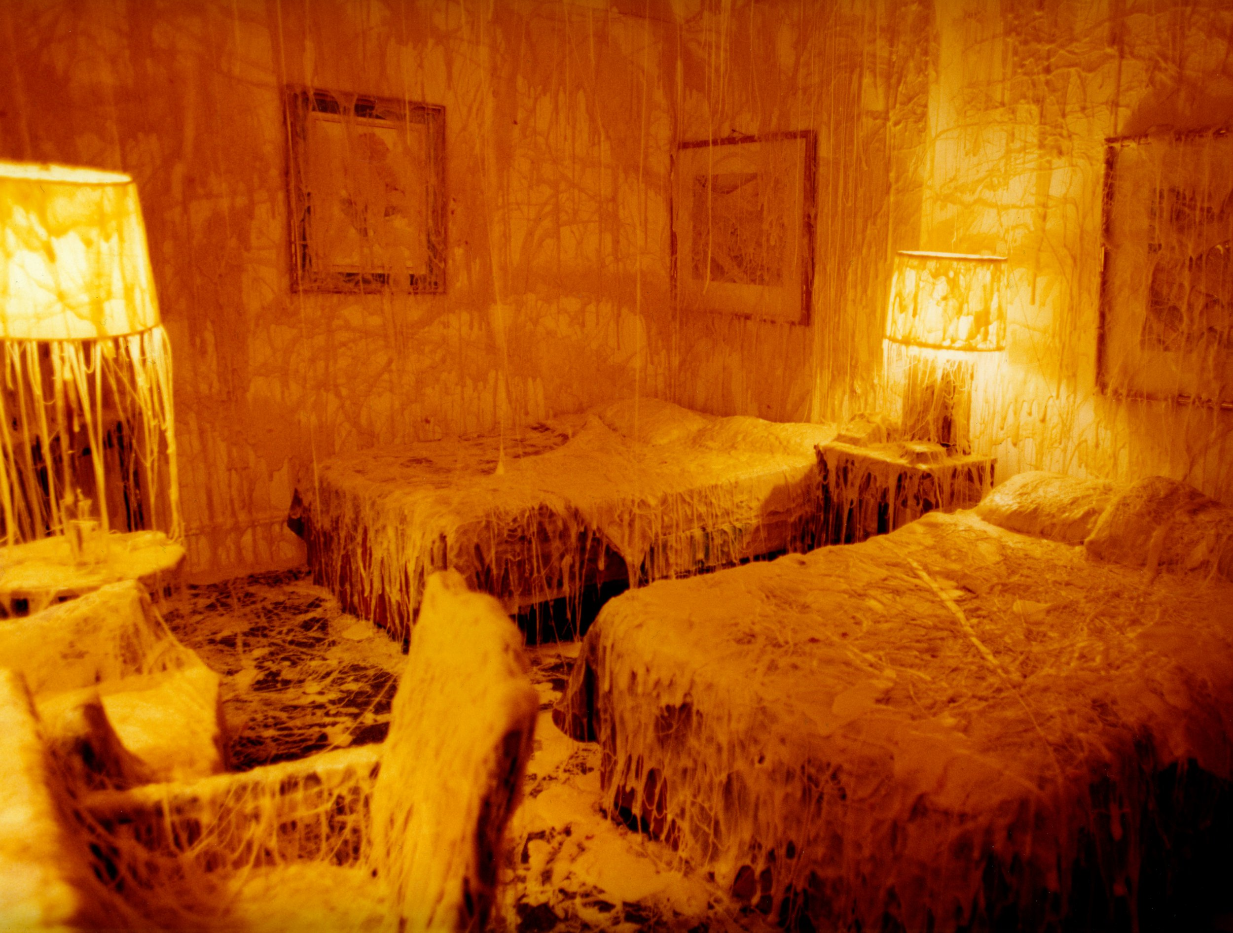 THESE remarkable ???cheese installations??? are every cheese lover???s dream with pounds of cheese melted on people, furniture and even entire houses. Incredible images show the exterior of a house completely covered in melted cheese, a bedroom and living room covered in it and even a bathroom lathered in dairy product. Other stunning shots show a woman wearing a dress covered in layers of cheese, a cheese-covered blazer hanging up and boots drenched in cheese. Italian-Canadian artist and photographer, Cosimo Cavallaro is famous for his ???cheese installations???. One of his most famous pieces of work was covering a twin suite at the Washington Jefferson Hotel, on New York???s upper west, with 1000 pounds of melted cheese. Cosimo Cavallaro / Universal Features / mediadrumimages.com