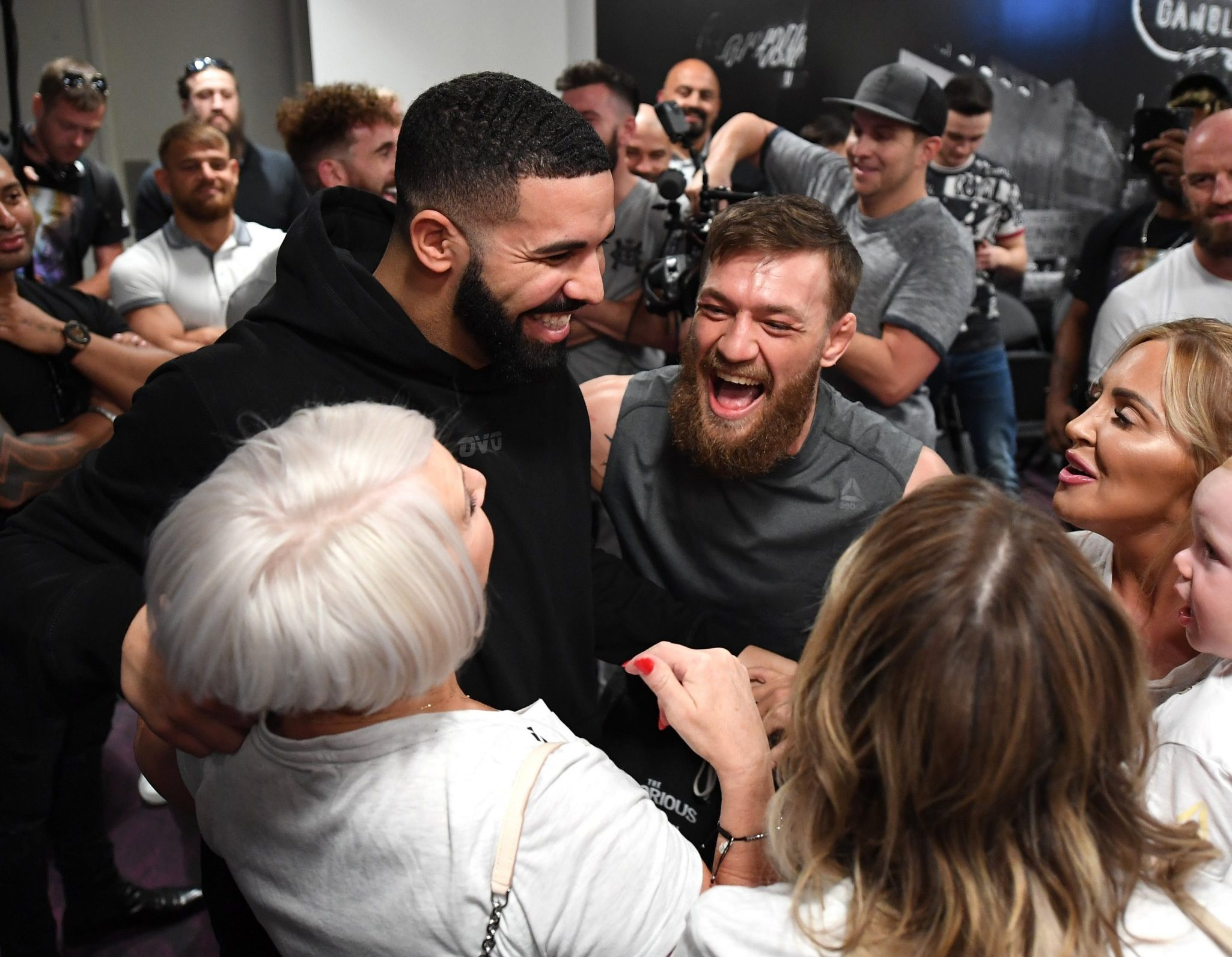 LAS VEGAS, NV - OCTOBER 05: Singer Drake (L) meets backstage with Conor McGregor of Ireland during the UFC 229 weigh-in inside T-Mobile Arena on October 5, 2018 in Las Vegas, Nevada. (Photo by Jeff Bottari/Zuffa LLC/Zuffa LLC via Getty Images)