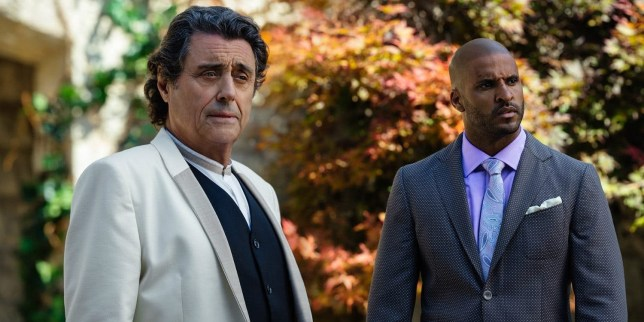 Ian Mcshane and Ricky whittle as their characters in American Gods season 2