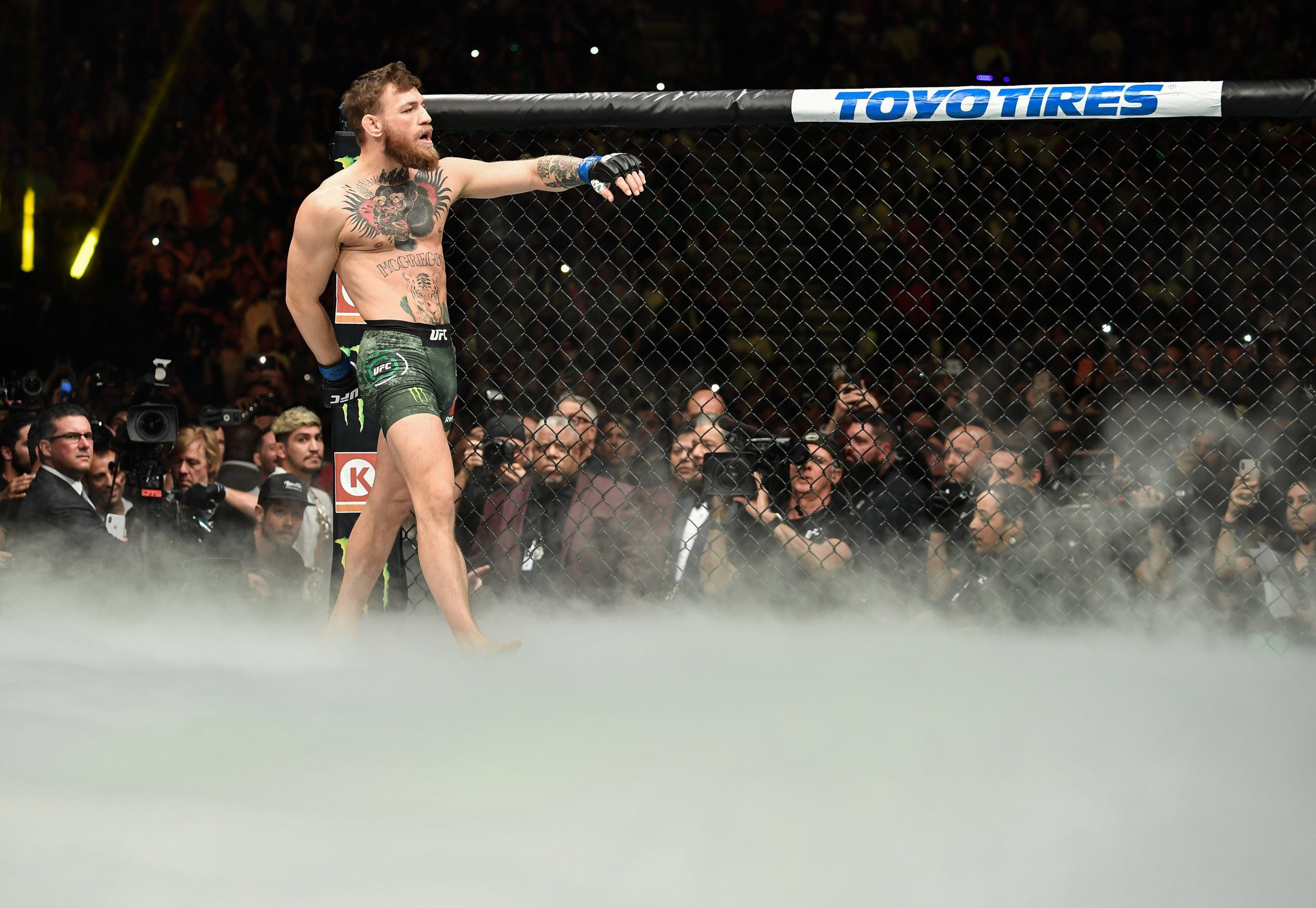 LAS VEGAS, NV - OCTOBER 06: Conor McGregor of Ireland enters the Octagon before facing Khabib Nurmagomedov of Russia in their UFC lightweight championship bout during the UFC 229 event inside T-Mobile Arena on October 6, 2018 in Las Vegas, Nevada. (Photo by Brandon Magnus/Zuffa LLC/Zuffa LLC via Getty Images)