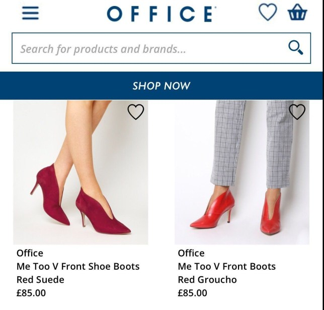- Picture of the 'MeToo' Shoes on sale at Office TRIANGLE NEWS 0203 176 5581 //contact@trianglenews.co.uk IT is a campaign that millions of women around the world have thrown their weight behind. But yesterday, support of the #metoo movement took a slightly odd turn when it was revealed that one shoe brand had inadvertently named a line of high heels after the feminist movement. British shoe shop Office was called out after shoppers discovered a range of stilettos called ?Me Too? on the company?s website. They are available in various shades and are made of leather and suede, costing ?85. Ingrid Stone, who posted about them on Facebook, said: ?Is it just me or is the ?Me Too? name of these shoes from Office a tad awful?? *TRIANGLE NEWS DOES NOT CLAIM ANY COPYRIGHT OR LICENSE IN THE ATTACHED MATERIAL. ANY DOWNLOADING FEES CHARGED BY TRIANGLE NEWS ARE FOR TRIANGLE NEWS SERVICES ONLY, AND DO NOT, NOR ARE THEY INTENDED TO, CONVEY TO THE USER ANY COPYRIGHT OR LICENSE IN THE MATERIAL. BY PUBLISHING THIS MATERIAL , THE USER EXPRESSLY AGREES TO INDEMNIFY AND TO HOLD TRIANGLE NEWS HARMLESS FROM ANY CLAIMS, DEMANDS, OR CAUSES OF ACTION ARISING OUT OF OR CONNECTED IN ANY WAY WITH USER'S PUBLICATION OF THE MATERIAL*