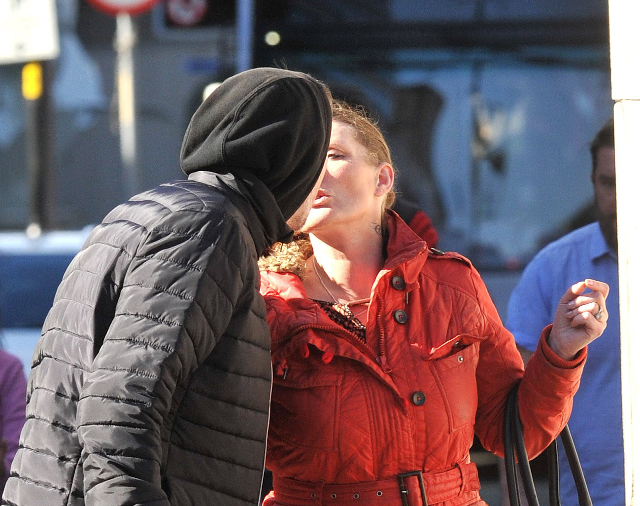 A woman who pushed her boyfriend onto a city centre tram track during a furious alcohol-fulled row is now ENGAGED to him, a court heard. Gillian Bond shoved John Dolan onto the Metrolink line near Manchester's Victoria station just seconds before a tram in. Caption: Gillian Bond (right), 41, of Anita Street in Ancoats, central Manchester, who was sentenced to 12 months in prison, suspended for two years, after she pleaded guilty at Manchester Crown Court to assault occasioning actual bodily harm against her boyfriend John Dolan (left, hooded)