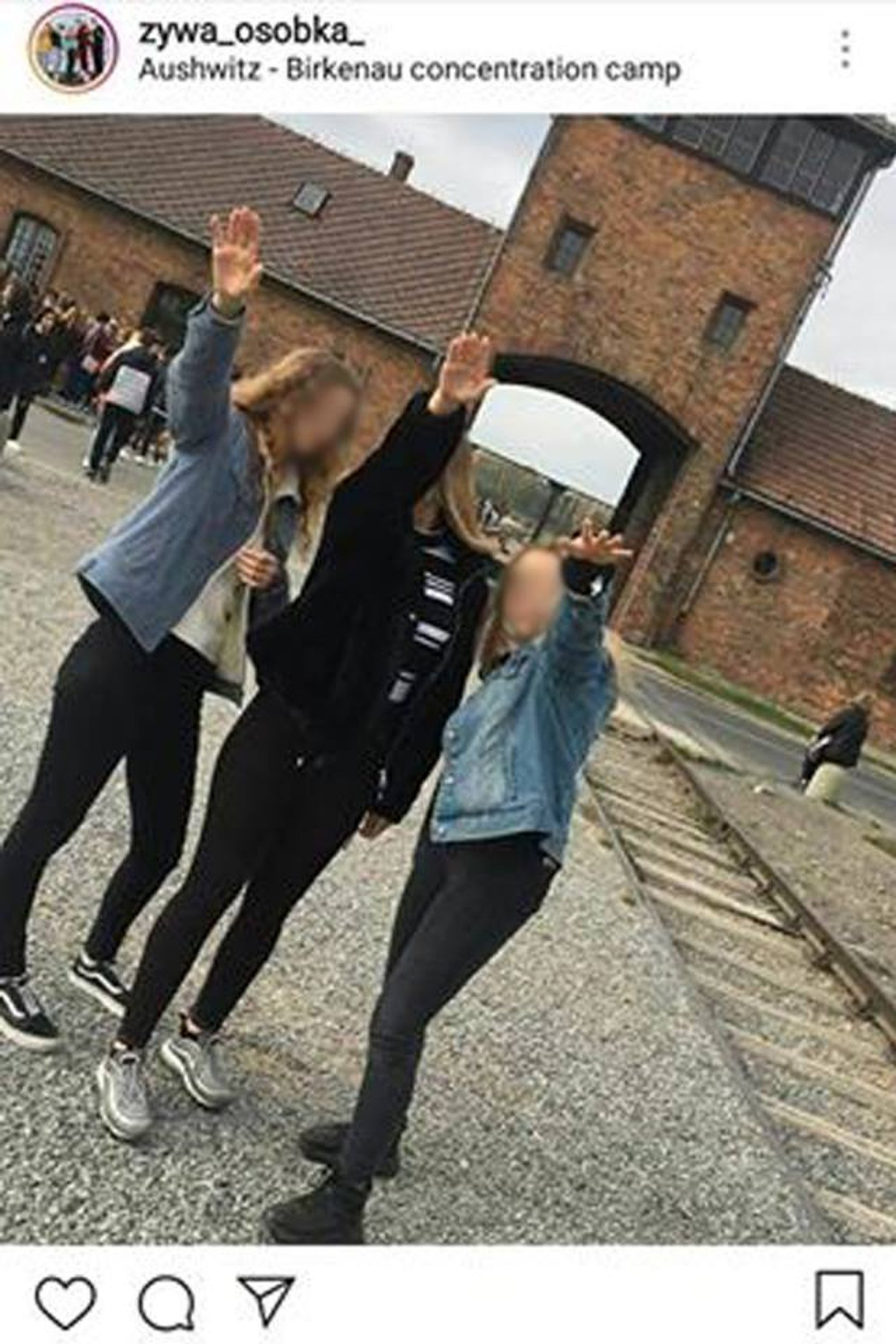 """Pic shows: Three teenagers raising their hands in the Nazi gesture in front of the """"Gate of death"""" in Auschwitz-Birkenau. Auschwitz officials are trying to identify three teenage girls who performed a Nazi salute outside the ???gate of death??? to the World War II concentration camp. According to local media, the girls uploaded the image to Instagram but quickly decided to take it down. However, officials at the Auschwitz-Birkenau Memorial and Museum had already been alerted to the image and informed the public prosecutor???s office. The photo was also shared on Facebook by the group ???Racist and Xenophobic Behaviour Monitoring Centre??? which wrote: """"The girls??? ???prank??? proves how education about the horrors of the Holocaust and totalitarian systems is needed, especially with anti-Semitism growing in Poland."""" The group added that """"young people unknowingly absorb hateful content"""". Local authorities are in the process of identifying the teenagers and their school will be informed about the incident. This is not the only case of Nazi gestures being carried out by ignorant visitors of the Auschwitz II-Birkenau concentration camp. In 2017, a group of Swedish teenagers were filmed making inappropriate gestures and remarks while visiting the memorial complex. Meanwhile, an Israeli student ended up in hot water when he dropped his trousers at the Majdanek concentration camp close to the Polish capital Warsaw. In that case, the Israeli Ministry of Education intervened and made the culprit pay a 250 GBP fine."""