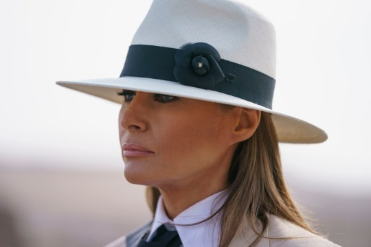 In this Oct. 6, 2018 photo, First lady Melania Trump pauses as she speaks to media during a visit to the historical Giza Pyramids site near Cairo, Egypt. First lady Melania Trump says she thinks she???s among the most bullied people in the world and there are people in the White House she and President Donald Trump can???t trust. (AP Photo/Carolyn Kaster)