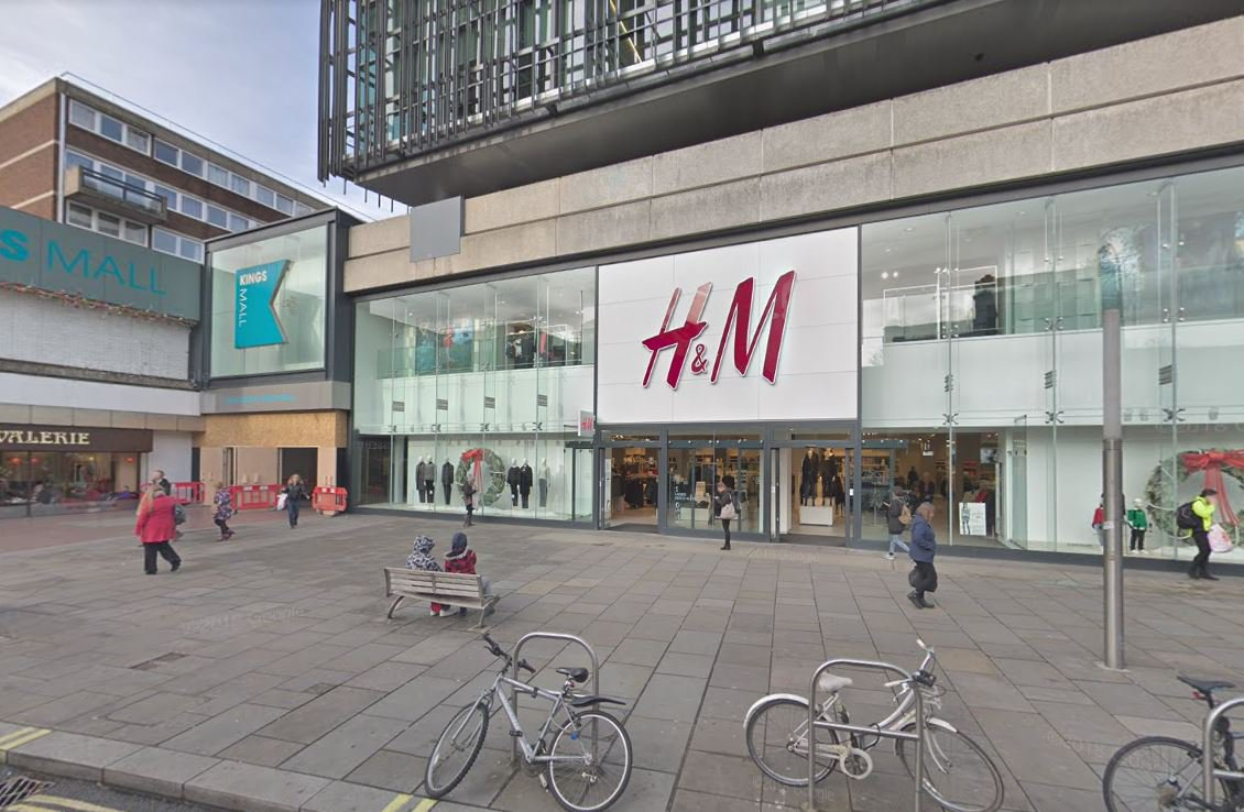 Woman crushed by hoarding outside H&M store H&M store in Hammersmith