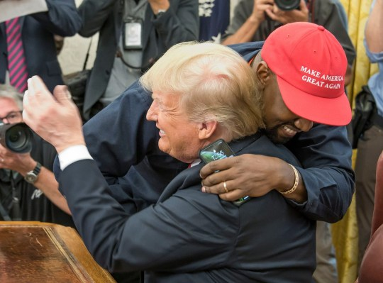 595aac78a653c Mandatory Credit  Photo by REX (9927938d) Kanye West hugs United States  President Donald