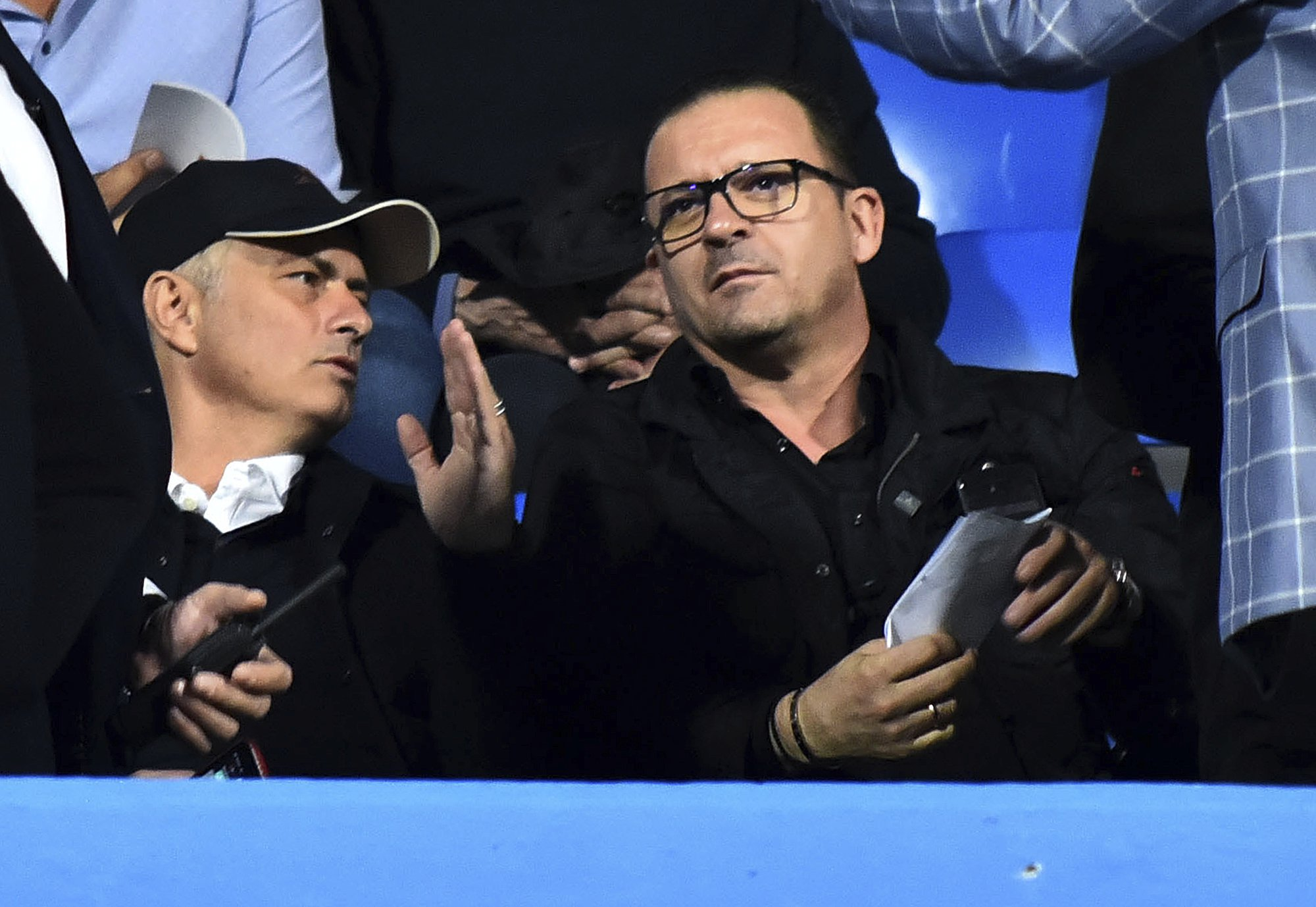 Manchester United's manager Jose Mourinho, left, speaks with Montenegrin ex soccer player Predrag Mijatovic prior the UEFA Nations League soccer match between Montenegro and Serbia at the City stadium in Podgorica, Montenegro, Thursday Oct. 11, 2018. (AP Photo/Risto Bozovic)