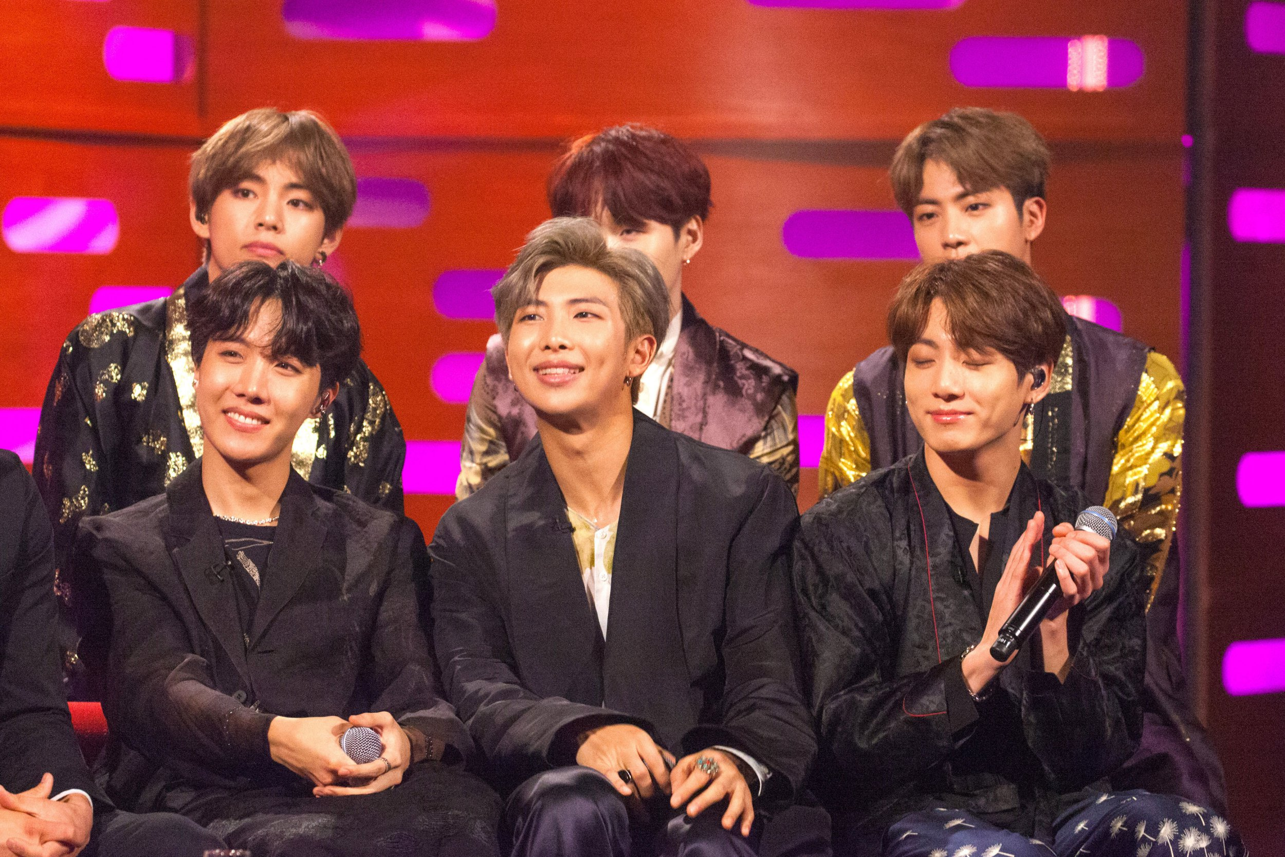 Boyband BTS during the filming of the Graham Norton Show at BBC Studioworks 6 Television Centre, Wood Lane, London, to be aired on BBC One on Friday evening. PRESS ASSOCIATION Photo. Picture date: Thursday October 11, 2018. Photo credit should read: PA Images on behalf of So TV