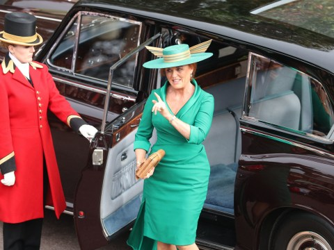 Sarah Ferguson wears green dress by Emma Louise Design and matching hat for Princess Eugenie's wedding