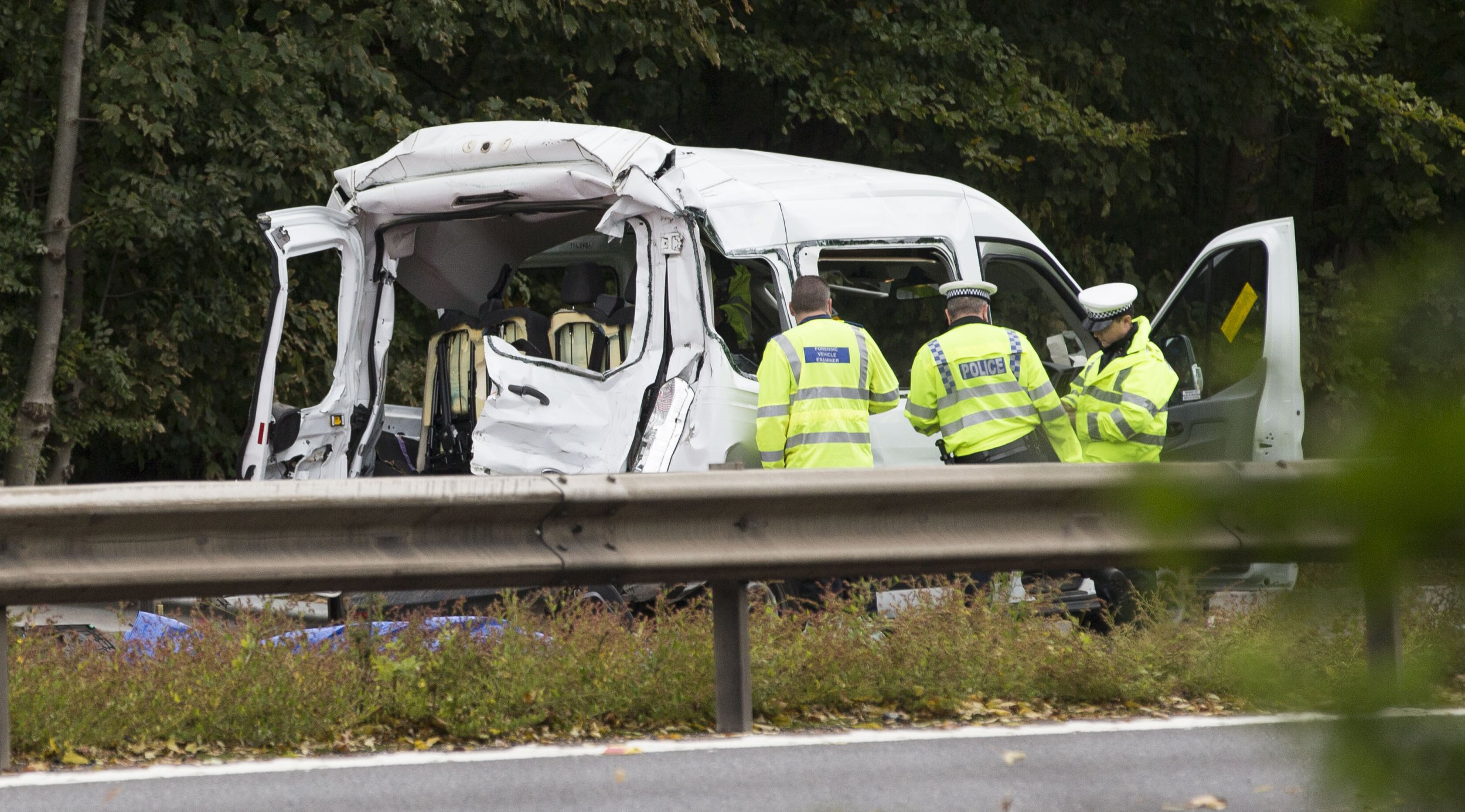 INS News Agency Ltd. 12/10/2018 *************** Picture by INS News Desk *************** Crash on M4 between minibus and lorry left two teachers from a residential school for children and young people with autism, dead. The collision also left three other teachers with serious injuries and the three young people who they were escorting back form a work placement when they were hit. The M4 motorway between junction 14, Hungerford, and junction 13, Chieveley, Berks, was closed for hours as three air ambulances landed and emergency services treated the injured. The eastbound carriageway was closed for nine hours in total as accident investigators examined the scene. Pic shows immediate aftermath of the collision on the M4 between the lorry and the minibus which happened on Thursday afternoon. See copy INSpriors