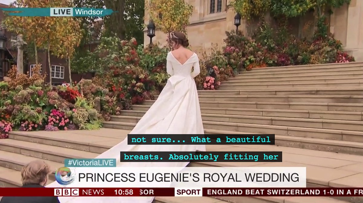 BBC accidentally compliments Princess Eugenie's 'breasts' at royal wedding
