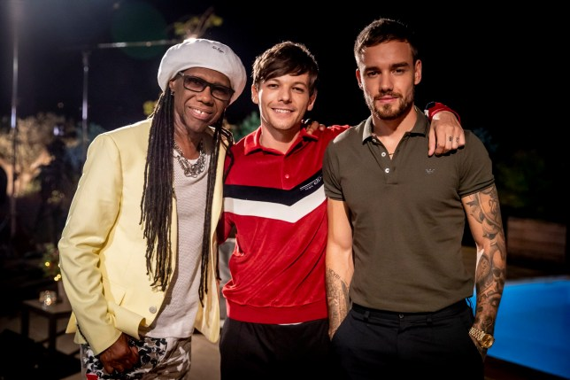 Embargoed to 0001 Saturday October 13 MANDATORY CREDIT REQUIRED: SYCO/THAMES TV Undated handout photo issued by ITV of Nile Rodgers, Louis Tomlinson and Liam Payne in Ibiza for the Judges Houses stage on the ITV1 talent show, The X Factor. PRESS ASSOCIATION Photo. Issue date: Saturday October 13, 2018. See PA story SHOWBIZ XFactor. Photo credit should read: Tom Dymond/Syco/Thames TV/PA Wire NOTE TO EDITORS: This handout photo may only be used in for editorial reporting purposes for the contemporaneous illustration of events, things or the people in the image or facts mentioned in the caption. Reuse of the picture may require further permission from the copyright holder.