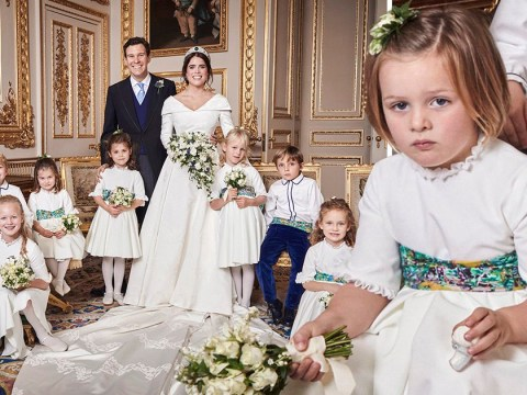 A very serious Mia Tindall steals the scene in Princess Eugenie's official wedding pictures