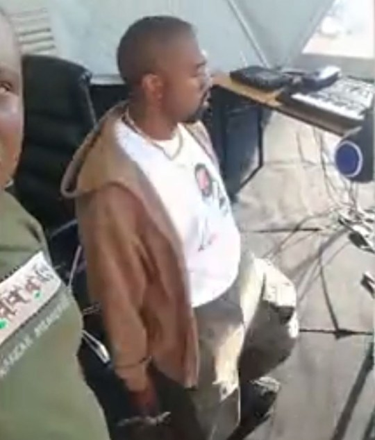 Kanye West breaks into a dance in Uganda bankull
