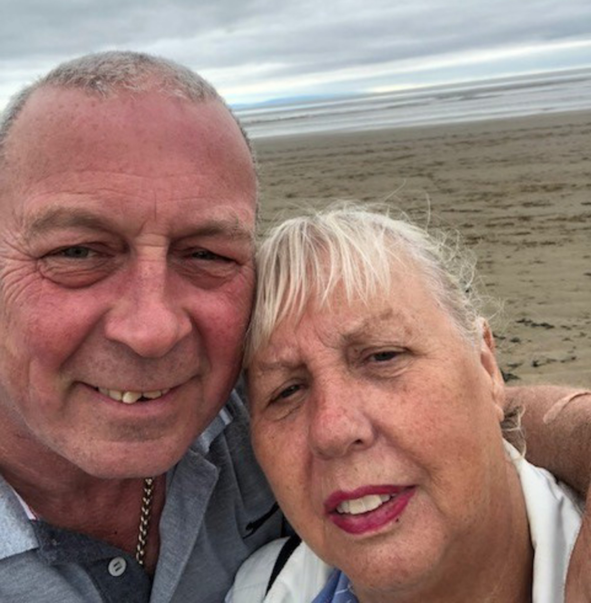 MERCURY PRESS. Somerset, UK. 15/10/18. Pictured: Paul Finlan, 57, and Carol Finlan, 64. Two holidaymakers have expressed their disgust at Wetherspoons after they claim they had their food snatched away mid-bite while they sat outside with their pooch - due to the pubs no dog policy. Paul Finlan, 57, and Carol Finlan, 64, claim they were publicly embarrassed by the ridiculous' behaviour that left red-faced Carol distressed in front of other customers earlier this month. As they sat at an outdoor table at the front of the Dragon Inn in Weston-super-Mare, Somerset, and tucked into their meals, Paul claims their meals and drinks were swiped from the table by a pub manager. SEE MERCURY COPY
