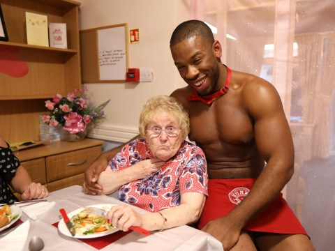 Care home treats old ladies to roast dinner served by butlers in the buff