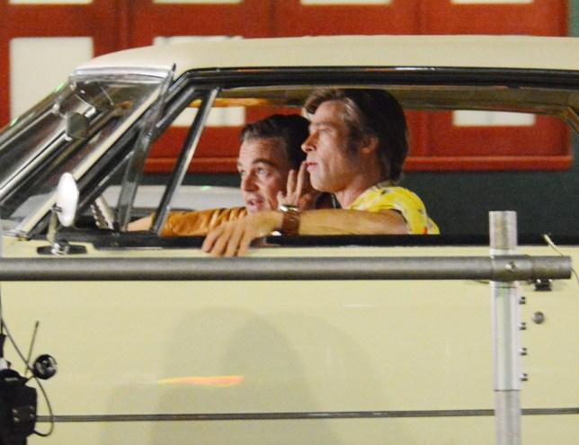 Brad Pitt and Leonardo DiCaprio seen on set filming 'Once Upon A Time In Hollywood' in Los Angeles, CA. 'Once Upon A Time In Hollywood' is Director Quentin Tarantino's latest film project revolving around the Manson family murders. Pictured: Brad Pitt,Leonardo DiCaprio Ref: SPL5012376 250718 NON-EXCLUSIVE Picture by: SplashNews.com Splash News and Pictures Los Angeles: 310-821-2666 New York: 212-619-2666 London: 0207 644 7656 Milan: +39 02 4399 8577 Sydney: +61 02 9240 7700 photodesk@splashnews.com World Rights, No Belgium Rights, No Brazil Rights, No France Rights, No Netherlands Rights, No Poland Rights, No Russia Rights