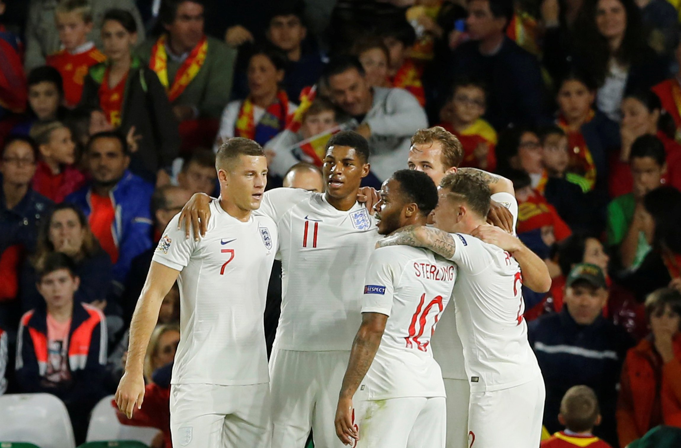 Soccer Football - UEFA Nations League - League A - Group 4 - Spain v England - Estadio Benito Villamarin, Seville, Spain - October 15, 2018 England's Marcus Rashford celebrates with team mates after scoring their second goal REUTERS/Marcelo Del Pozo