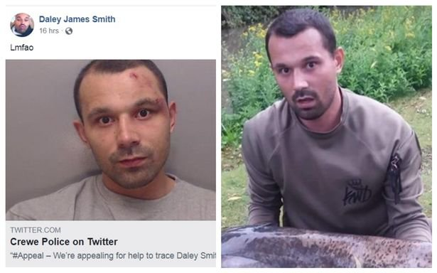 A fugitive appears to have postponed plans to celebrate 100 days on the run from the police ? and has also changed his mind about handing himself in. Daley Smith, from Alsager, is wanted ?in relation to a breach of court order? after he was charged over alleged drugs offences with Cheshire Police trying to track him down. The 29-year-old seems to have decided to make a mockery of the appeal after a Facebook profile purporting to be Smith was created on September 12.