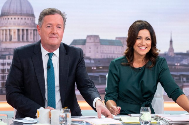 Editorial use only Mandatory Credit: Photo by Ken McKay/ITV/REX (9934739cn) Piers Morgan and Susanna Reid 'Good Morning Britain' TV show, London, UK - 17 Oct 2018