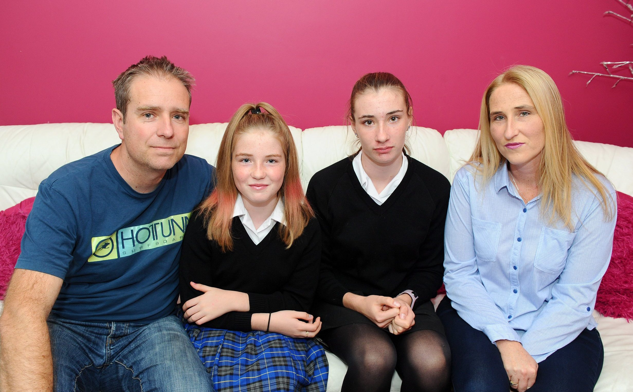 Pictured: Gary Sprake, Rosa-May Sprake, Ella-May Sprake and Jackie Chandler. A married couple were left stunned at budget supermarket Lidl when a cashier refused to sell them a bottle of rhubarb gin as they were shopping with their 11 and 14-year-old daughters. Jackie Chandler and her husband Gary Sprake were at the till ready to pay after doing their groceries when the worker halted them to ask their eldest daughter Ella-May for ID. SEE OUR COPY FOR DETAILS. ? Portsmouth News/Solent News & Photo Agency UK +44 (0) 2380 458800