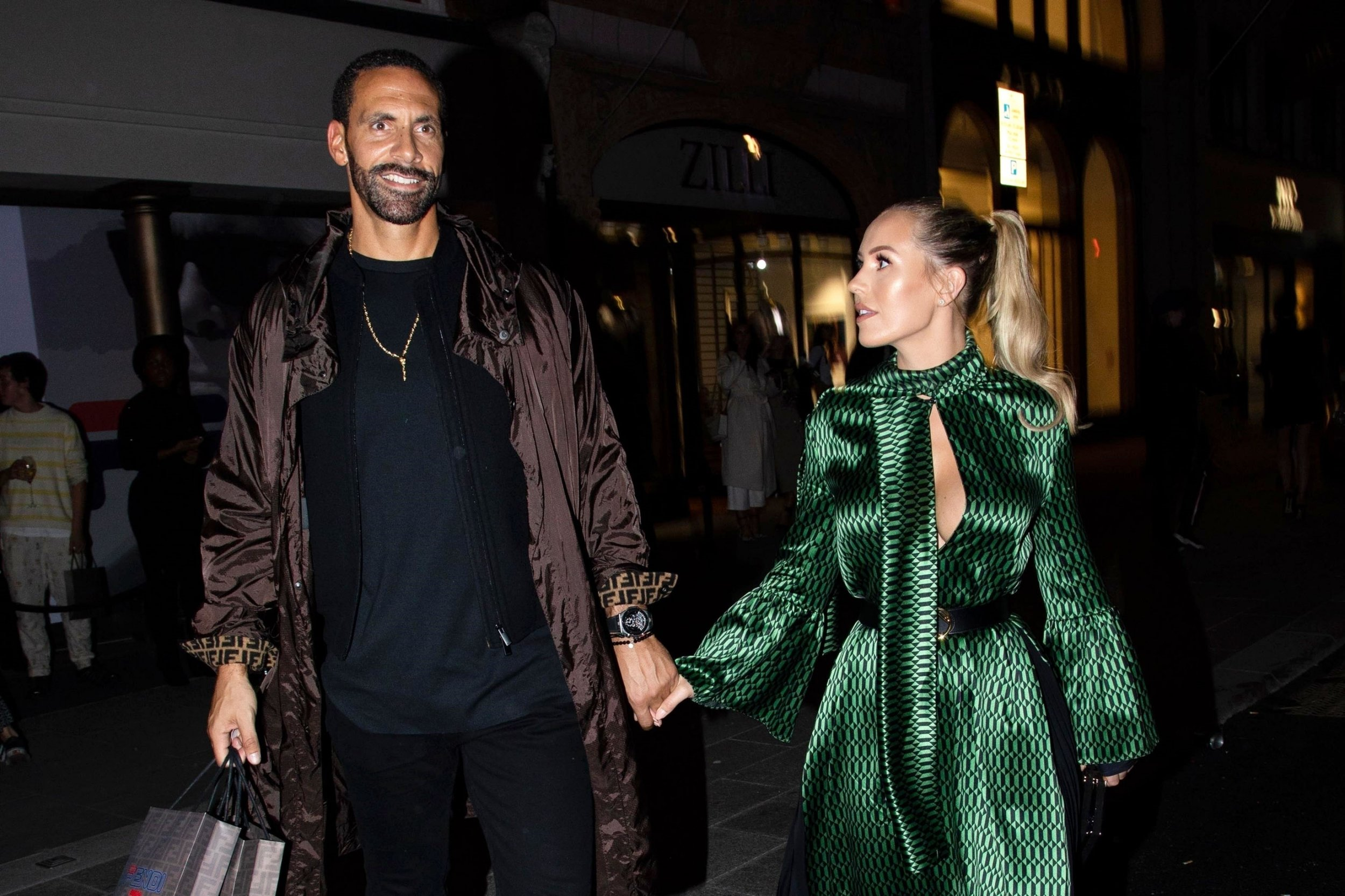 Rio Ferdinand plays the doting boyfriend to Kate Wright on loved up date night