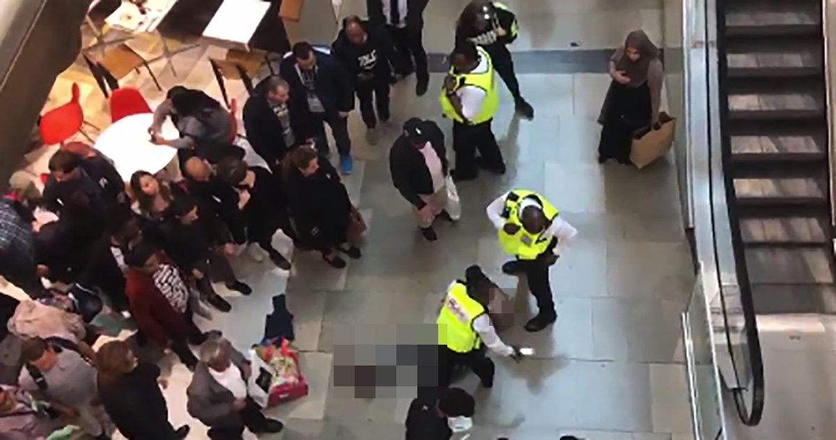 Man falls from upstairs of Stratford Westfield onto another shopper Picture: @faridque METROGRAB https://twitter.com/faridque/status/1052579116052930561