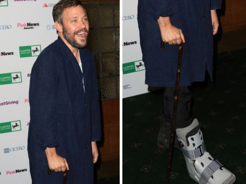 Will Young doesn't let a moonboot get in the way of a good time