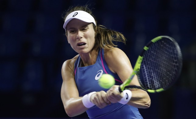epa07102236 Johanna Konta of Britain in action during her women's quarterfinal match against Aliaksandra Sasnovich of Belarus at the Kremlin Cup tennis tournament in Moscow, Russia, 18 October 2018. EPA/MAXIM SHIPENKOV