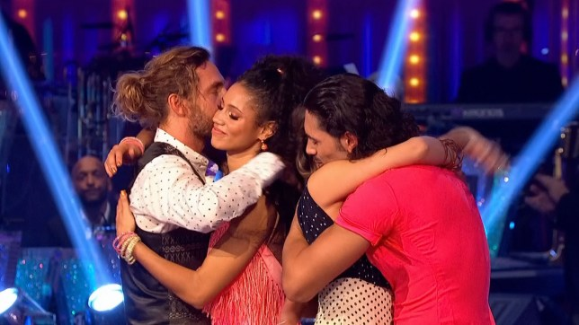 Enterprise News and Pictures 21/10/18 Pic shows: Comedian Seann Walsh with his professional dance partner Katya Jones hug the losing couple Vick and Graziano after performing their Quickstep to Lightning Bolt by Jake Bugg tonight in the dance-off as judge Shirley Ballas decided their fate after the dance-off with Vick Hope and Graziano Di Prima. Shirley chose to save them and vote them through to next week's show with Vick Hope voted off on the Strictly Come Dancing results show on BBC1 HD. See story...