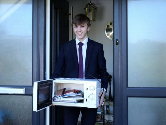 - Picture of Jacob Ford, 17, who was protesting over his school ban of bags. He brought his books into school in various items, including a microwave TRIANGLE NEWS 0203 176 0089 // contact@trianglenews.co.uk By Kaisha Langton A SCHOOL has banned BAGS - claiming they?re a health and safety risk. Sixth-formers at Spalding Grammar School have been told they can no longer take large bags to lessons in case they injure younger pupils. An edict claimed ?injury was being caused to younger students as a result of sixth formers carrying ever-larger bags on their shoulders.? *Full copy filed via the wires*