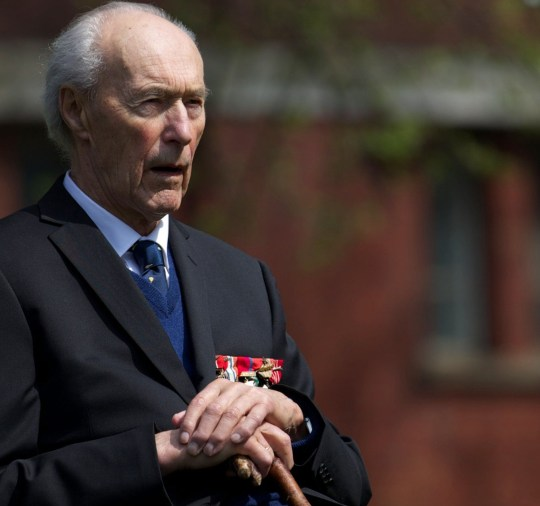 Norwegian World War II hero Joachim Ronneberg, 93, attends a wreath-laying ceremony in his honour at the SOE agents monument in central London on April 25, 2013, for leading the SOE operation Gunnerside where Norwegian soldiers destroyed the German occupied Heavy Water Plant in Vemork, Norway. AFP PHOTO / ANDREW COWIE (Photo credit should read ANDREW COWIE/AFP/Getty Images)