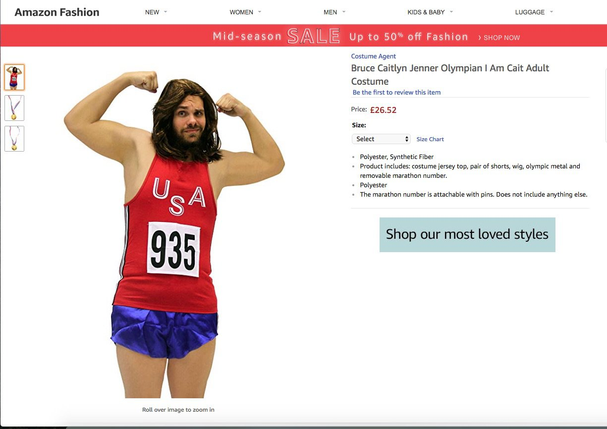 - Picture of the Caitlyn Jenner-themed Halloween costume on sale on Amazon TRIANGLE NEWS 0203 176 5587 // contact@trianglenews.co.uk By Niamh Cavanagh A Caitlyn Jenner-themed Halloween costume has been slammed by charities for making an ?insensitive mockery? of transgender people. The ?I am Cait? costume is available on Amazon but has been removed from eBay in the last few days. It features a brunette wig, a sports top and shorts and two plastic Olympic medals and retails for around ?30.