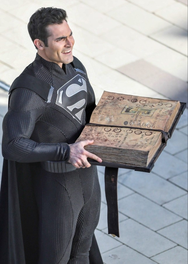 """Vancouver, CANADA - *EXCLUSIVE* - Tyler Hoechlin was on set of Arrowverse """"Elseworlds"""" crossover as Superman in a black version of his iconic red and blue suit. Superman is seen reading off an ancient manuscript of spells and appears to be enjoying the chaos he ensues. According to some reports the black suit may be an indication that the beloved superhero turns evil. Pictured: Tyler Hoechlin BACKGRID USA 23 OCTOBER 2018 BYLINE MUST READ: JKING / BACKGRID USA: +1 310 798 9111 / usasales@backgrid.com UK: +44 208 344 2007 / uksales@backgrid.com *UK Clients - Pictures Containing Children Please Pixelate Face Prior To Publication*"""