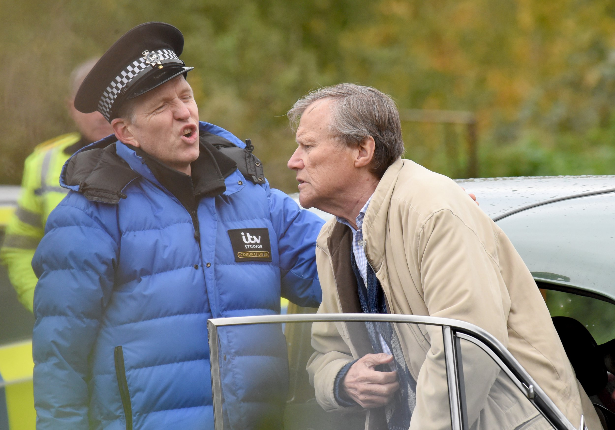 Dogging. Roy Cropper offers to help Evelyn look for her missing dog which she fears as been dognapped but during their stake out the windows of his classic Morris Minor are steamed up and attracting the attention of the police. David Neilson plays Roy and Maureen Lipman plays Evelyn. PIC BY MARK CAMPBELL/MCPIX 07778 526193
