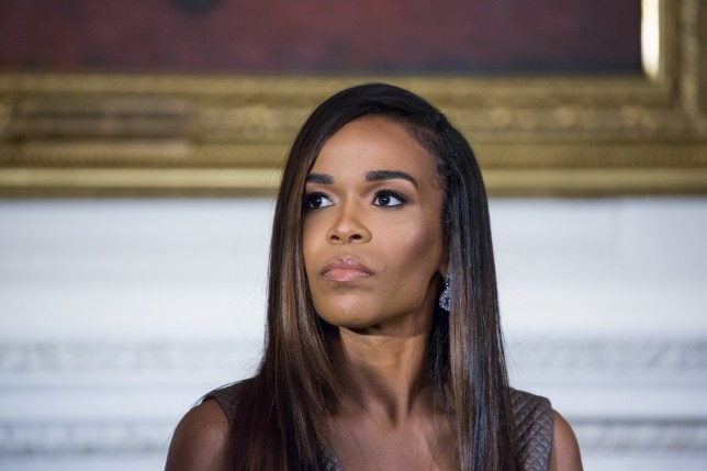 In the State Dining Room of the White House, in Washington, D.C., USA, on 21 October 2016, singer Michelle Williams listens to Grammy Museum Executive Director Bob Santelli speak to students during a Grammy Museum musical workshop. (Photo by Cheriss May/NurPhoto via Getty Images)
