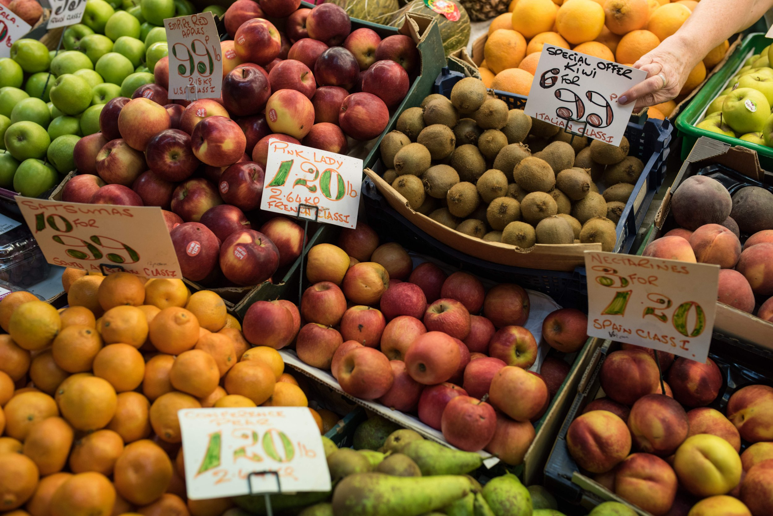 Fruit and vegetables are displayed for sale in Darlington Market in the town centre of Darlington, northern England on September 6, 2018. (Photo by Oli SCARFF / AFP) (Photo credit should read OLI SCARFF/AFP/Getty Images)