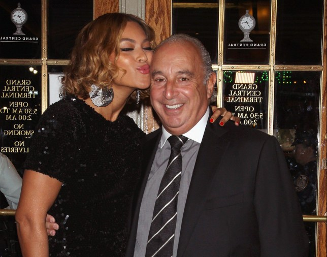 NEW YORK, NY - NOVEMBER 04: Singer Beyonce Knowles and Sir Philip Green attend the Topshop Topman New York City Flagship Opening Dinner at Grand Central Terminal on November 4, 2014 in New York City. (Photo by Jim Spellman/WireImage)