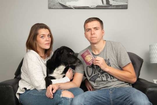**Embargoed until 1pm on 28/10/18. Online Usage fee ?75 per photo. Print fee ?150 per photo** Newlyweds Daniel Farthing and Tia Farthing refused entry to Bali for honeymoon after 16-hour flight because dog chewed corner of passport Pair spent thousands on Bali trip only to be refused entry because pet had tried to eat their passport and the authorities would not accept it Milo the dog chewed Daniel Farthing's passport leading to problems in Bali and subsequent detention, ruining his holiday with his wife Tia.