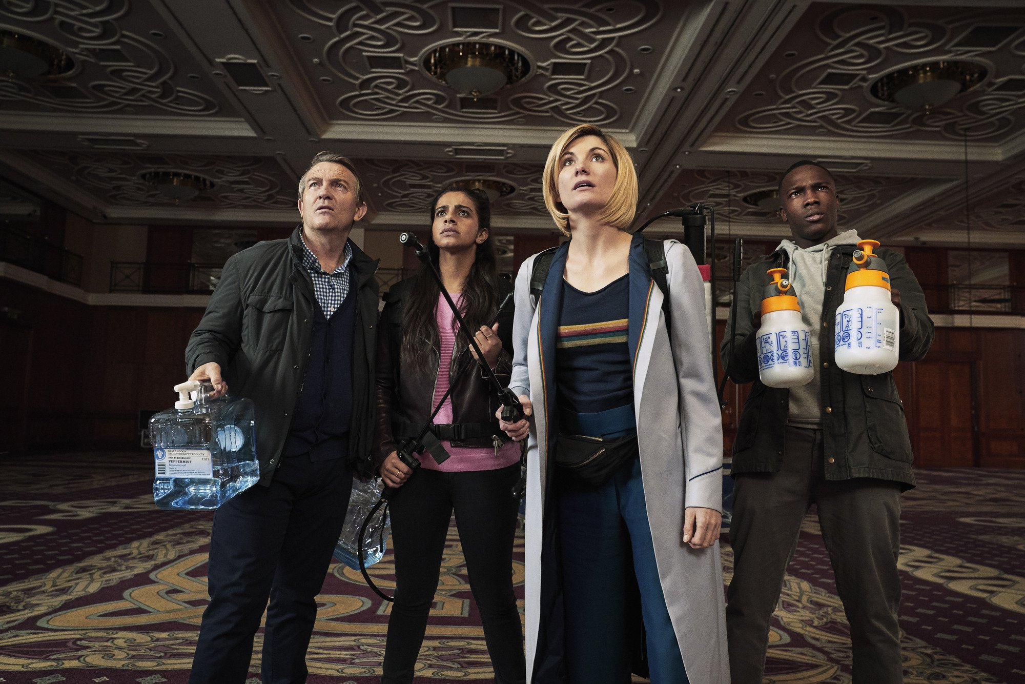 WARNING: Embargoed for publication until 00:00:01 on 28/10/2018 - Programme Name: Doctor Who Series 11 - TX: n/a - Episode: n/a (No. 4) - Picture Shows: Post-TX Strictly Embargoed until 28/10/2018 Graham (BRADLEY WALSH), Yaz (MANDIP GILL), The Doctor (JODIE WHITTAKER), Ryan (TOSIN COLE) - (C) BBC / BBC Studios - Photographer: Ben Blackall