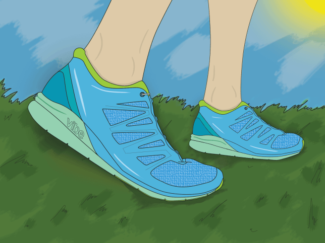 Illustration of a woman's running shoes on grass