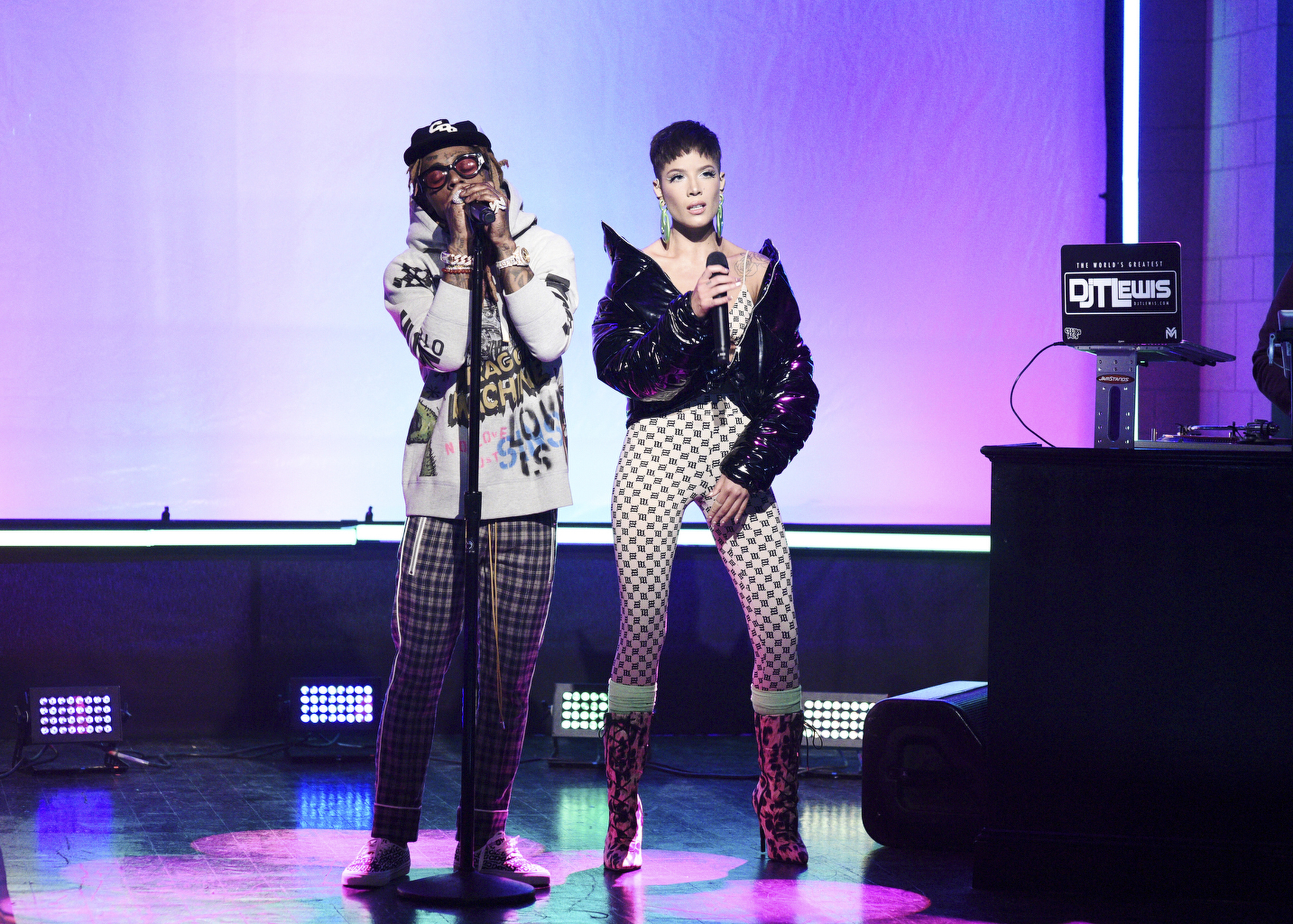 Halsey performs on Saturday Night Live 'seconds' after getting tattoo from Lil Wayne