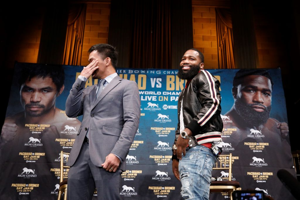 Manny Pacquiao cannot stop laughing during first face-off with Adrien Broner