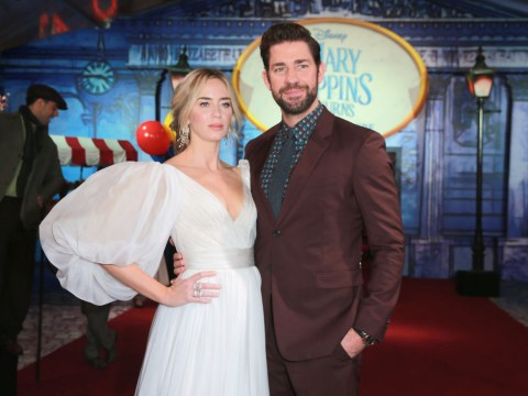 Emily Blunt looks supercalifragilistic in pure white as she brings John Krasinski to Mary Poppins premiere