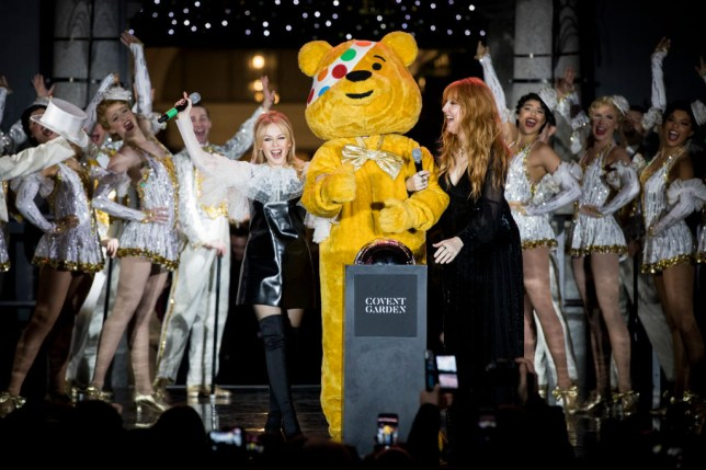 Pudsey switches on the Christmas lights in Covent Garden