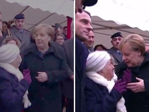 Cute moment 101-year-old woman meets Angela Merkel and doesn't know who she is