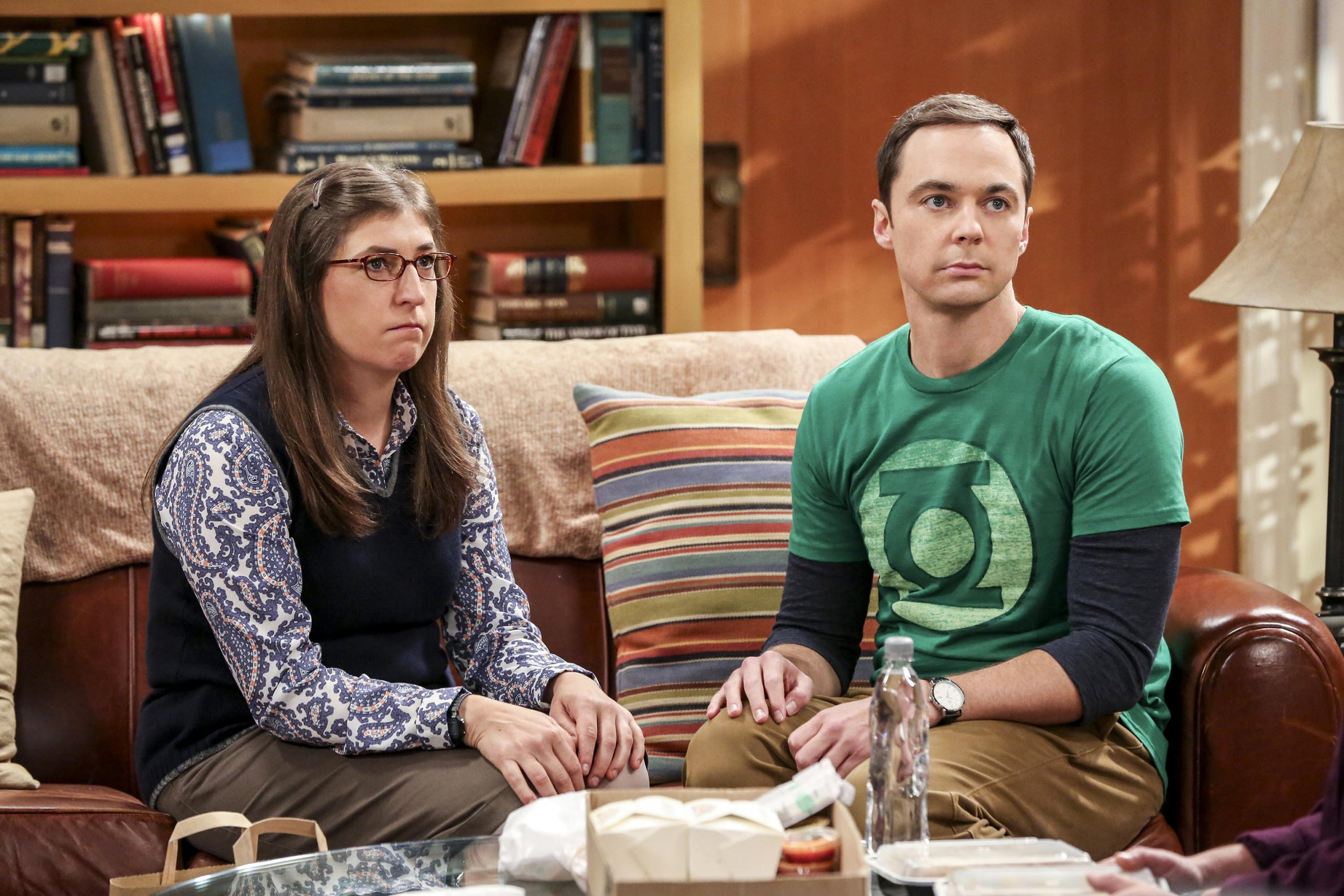Television programme: The Big Bang Theory Series 10: Episode 4, starring Mayim Bialik as Amy Farrah Fowler and Jim Parsons as Sheldon Cooper.