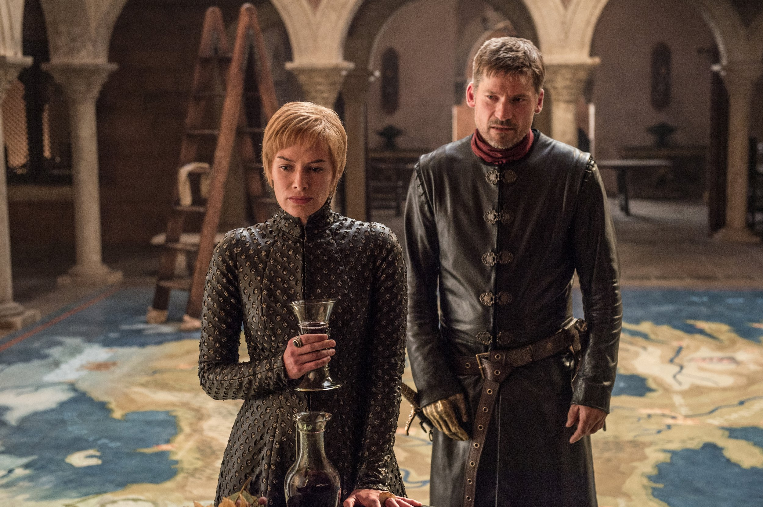 Television programme : Game of thrones. Lena Headey as Cersei Lannister, Nikolaj Coster-Waldau as Jaime Lannister