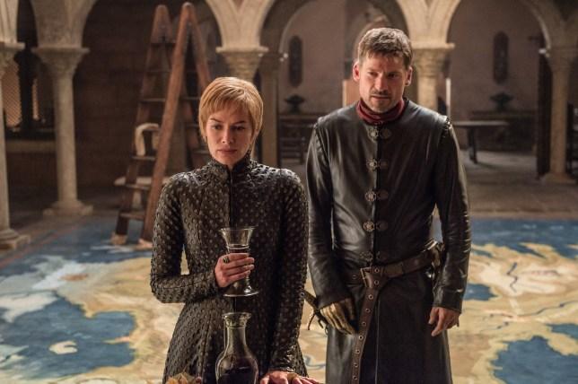 Television programme : Game of thrones. Lena Headey as Cersei Lannister, Nikolaj Coster-Waldau as Jaime Lannister